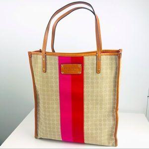 Kate Spade Tan Daisy Shopper Classic Noel Stucco Red Pink Stripe Tote